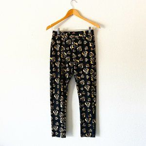 Black And Gold Minnie Girls Stretch Pants NWOT